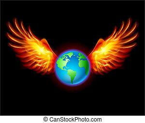 terre planète, ailes, ardent