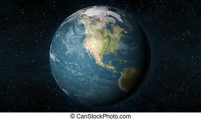 terre planète, américain, continent., nord, bourdonner