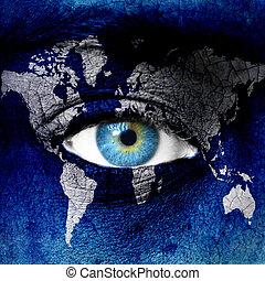 terre planète, bleu, oeil humain