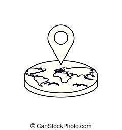 terre planète, emplacement, épingle, mondiale