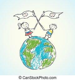 terre planète, enfants