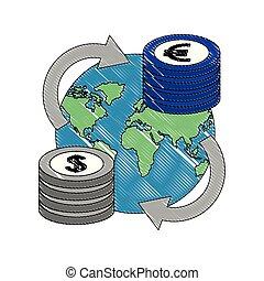 terre planète, ensemble, devises, international