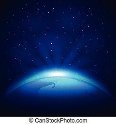 terre planète, espace, vecteur