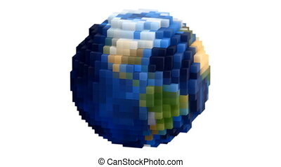 terre planète, filer, globe, boucle, voxel