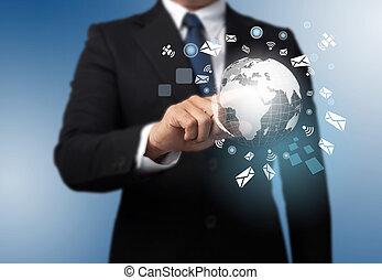 terre planète, fond, global, homme, technologie
