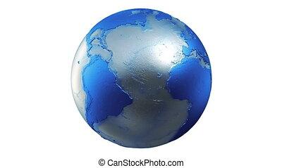 terre planète, globe bleu, boucle, blanc