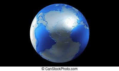 terre planète, globe bleu, boucle, noir