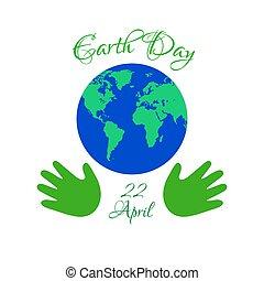 terre planète, gosses, jour, hands.