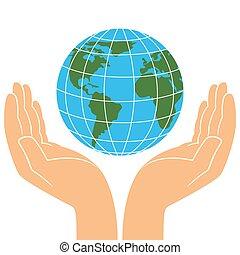 terre planète, mains humaines