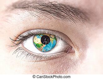 terre planète, oeil