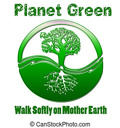 terre planète, vert, mère