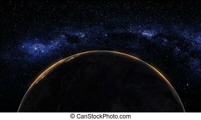 terre planète, vue, levers de soleil, espace