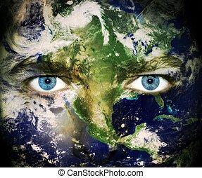 terre planète, yeux, sauver, -