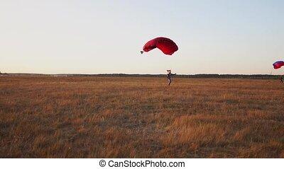 terres, débarquer, après, parachutistes, champ, avion, fond, parachutiste, autre