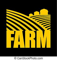 terres, ferme, agriculture, signe., terre, arable, logo.