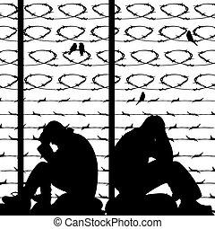 terrestre, barbelé, silhouette, séance, fil, hommes, deux, migrant, derrière, fond, blanc, triste, refugees
