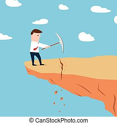 terrestre, bord, creuser, falaise, homme