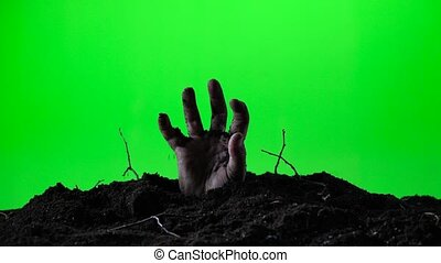 terrestre, concept., 018, emerger, grave., main, zombi, screen., halloween, vert