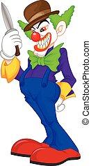 terrifiant, clown, dessin animé