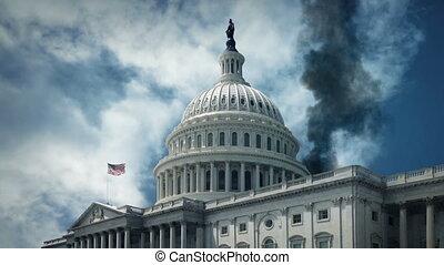 terrorisme, -, capitole, fumer, nous, bâtiment, guerre, concept