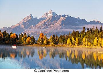 teton, automne, grandiose