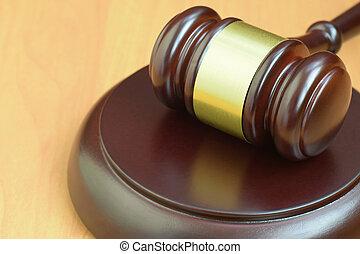 text., bureau, justice, juge, judiciaire, marteau, pendant, droit & loi, maillet bois, salle audience, espace, trial., vide, concept