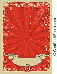 text., fond, vecteur, graphique, cow-boy, affiche, rouges