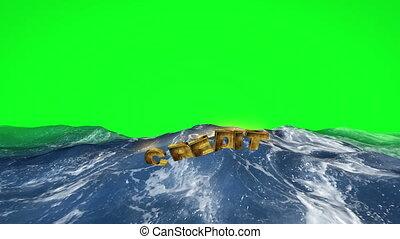 texte, écran, eau, crédit, vert, flotter