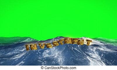 texte, écran, eau, vert, flotter, investissement