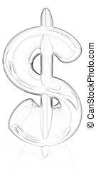 texte, 3d, illustration, '$'