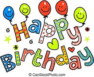 texte, anniversaire, heureux, célébration