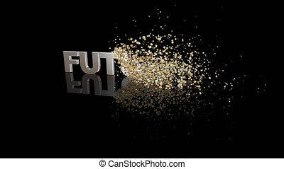 texte, avenir, particules, dissoudre