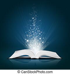 texte, blanc, livre, ouvert, idée
