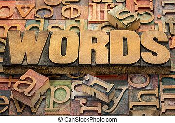 texte, bois, type, mots