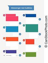 texte, bulles, messager