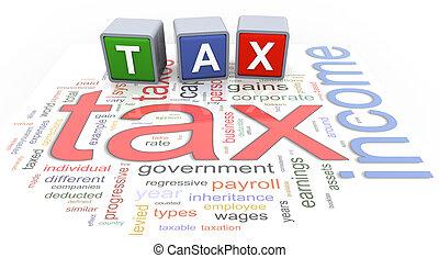 texte, buzzword, impôt, 3d