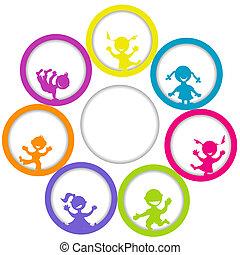 texte, cadre, enfants, endroit, cercle, ton