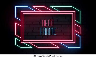 texte, coloré, cadre, branché, néon, espace