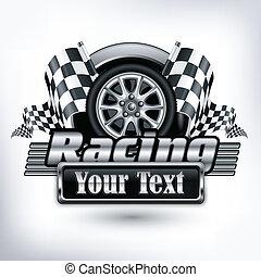 texte, courses, emblème, &, blanc
