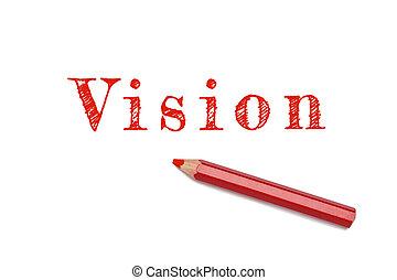 texte, croquis, vision, crayon rouge