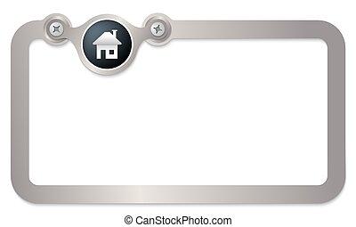 texte, encadrer icône, métal, maison