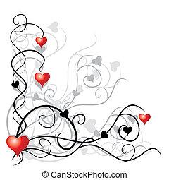 texte, endroit, ton, fond, valentin