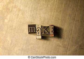 texte, faire, -, letterpress, signe