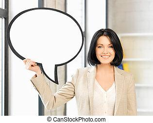 texte, femme affaires, bulle, sourire, vide
