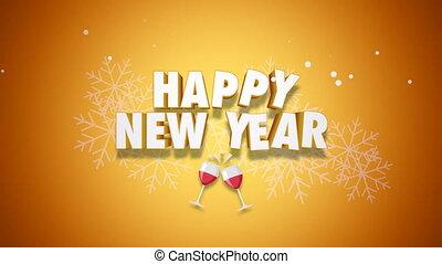 texte, fond, nouvel an, heureux, animé, closeup, jaune
