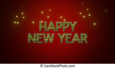 texte, fond, nouvel an, rouges, heureux, animé, closeup