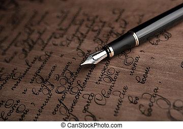 texte, haut, stylo, fontaine, lettre, vendange, fin