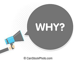 texte, illustration, signe, why., megaphone., vecteur, parole, tenant main