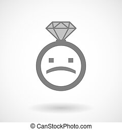 texte, isolé, figure, vecteur, anneau, triste, icône