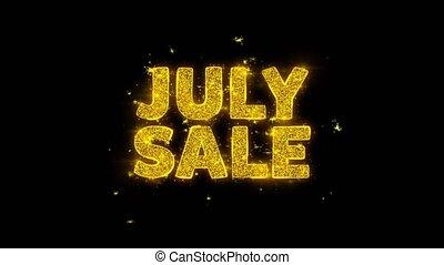 texte, juillet, vente, particules, étincelles, noir, arrière-plan.